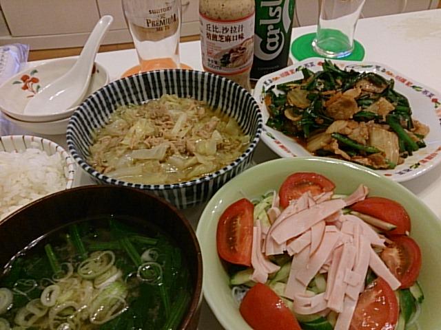 豚キムチ炒め&春雨ゴマドレサラダ